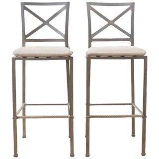Pair of Brown Jordan Venetian Aluminum Bar Stools For Sale