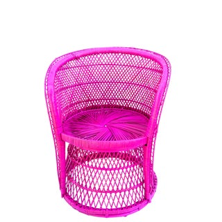 Vintage Bohemian Fuchsia Woven Rattan Peacock Chair || Mid-Century Hot Pink Statement Barrel Chair For Sale