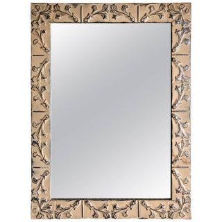 Mid-Century Modern Tin Ceiling Tile Framed Mirror For Sale