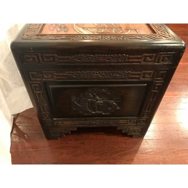 Metal Antique Chinese Carved Camphor Wood Trunk and Dresser Set With Inlaid Stone For Sale - Image 7 of 12