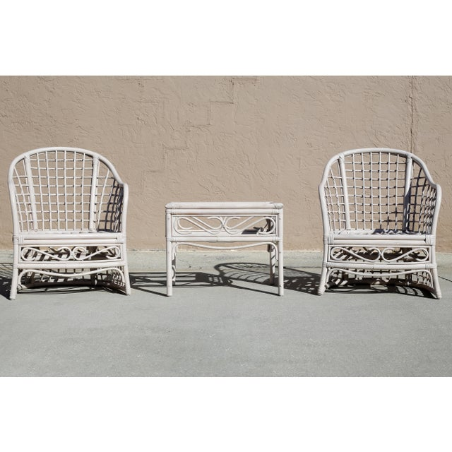 Vintage Rattan Club Chairs and Side Table - Set of 3 For Sale - Image 10 of 10