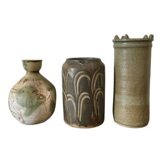 20th Century Boho Chic Ivory & Green Studio Pottery Collection - 3 Pieces