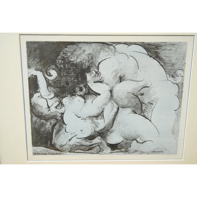 A Pablo Picasso Minotaur original lithograph print on woven paper originally from 1933. It is signed on the front with a...