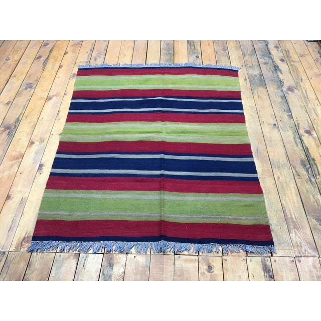 1980s 1980s Turkish Cecim Kilim Rug - 4′ × 4′9″ For Sale - Image 5 of 5