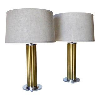 Pair of American Machine Age Solid Aluminum and Brass Table Lamps C. 1940 For Sale