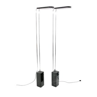 Bruno Gecchelin Pair of Black Marble Floor Lamps by Skipper, Italy 1974 For Sale