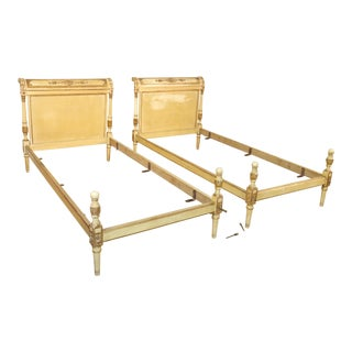 Pair Antique French Directoire Gilded Creme Painted European Twin Size Beds For Sale