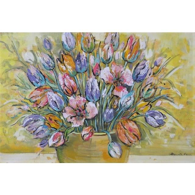 Modern 1960's Harriette Harra Modernist Still Life Oil Painting - Tulips For Sale - Image 3 of 4