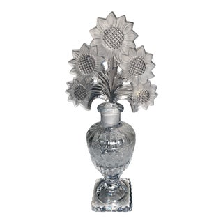 1930s Art Deco Czech Crystal Perfume Bottle For Sale