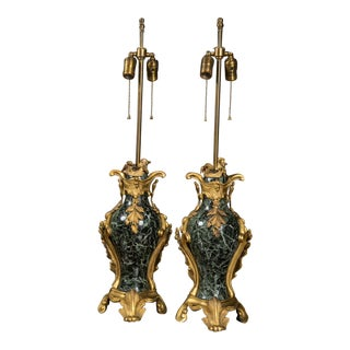 French Bronze and Marble Table Lamps C. 1800s - a Pair For Sale