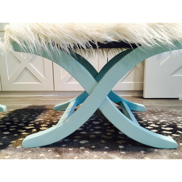 Aqua/Teal X-Benches with Faux-Mongolian Fur - Pair - Image 5 of 9
