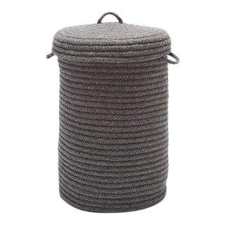 "Wool Blend Bark 16""x16""x24"" Hamper With Lid"