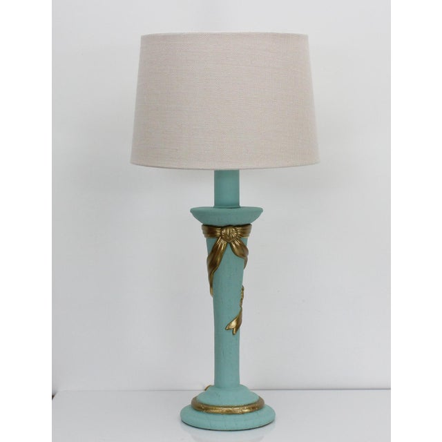 Mid-Century Plaster Ribbon Table Lamps After Dorothy Drapper For Sale - Image 10 of 12