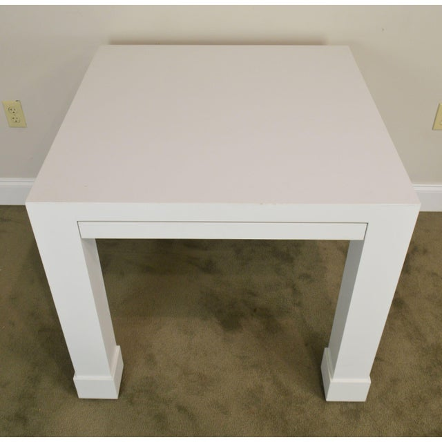 Paint White Lacquer Mid Century Square Parsons Game Table For Sale - Image 7 of 12
