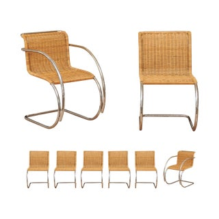 Pristine Set of Eight Italian Wicker Chairs in the Style of Mies Van Der Rohe For Sale