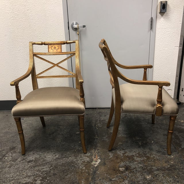 Early 21st Century Louis XVI Gold Leaf Gray Silk Upholstered Armchairs - a Pair For Sale - Image 5 of 13