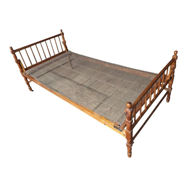 Antique Empire Wooden Collapsible Bed Frame | Chairish