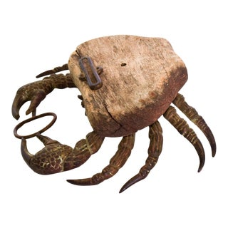 Antique Decorative Desk Paper Weight Crab Wood & Brass For Sale