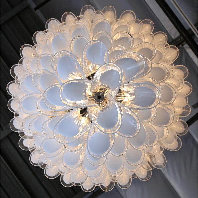 "A.V. Mazzega Mazzega Large Scale Murano "" Selle "" Glass Chandelier Circa 1988 For Sale - Image 4 of 13"
