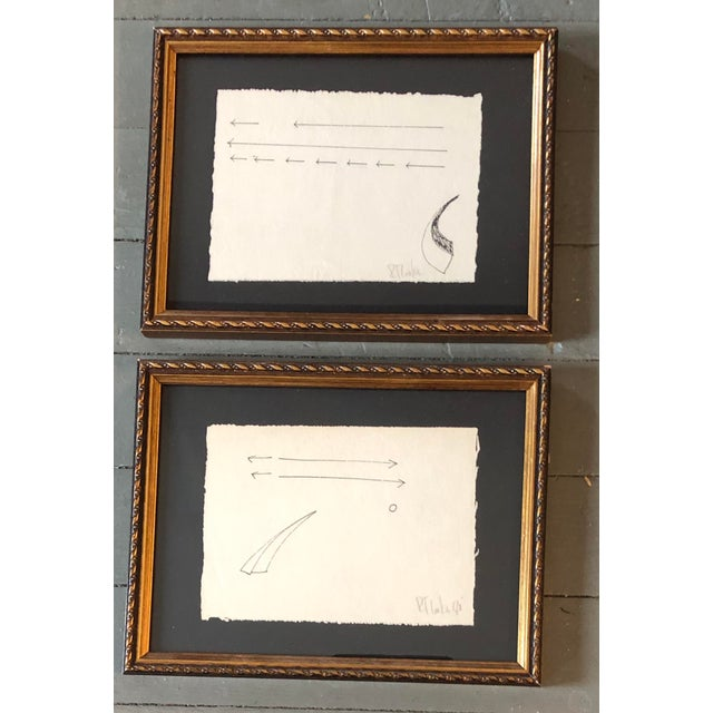 Gallery Wall Collection 2 Original Vintage Robert Cooke Abstract Ink Drawings For Sale In Philadelphia - Image 6 of 6