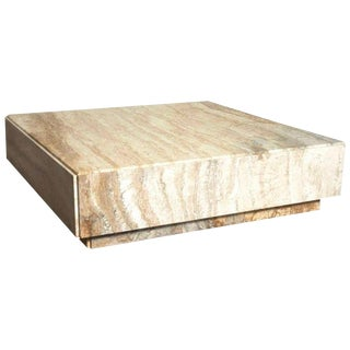 1960s Vintage Milo Baughman Travertine Plinth Monolith Stone Cubic Coffee Table For Sale