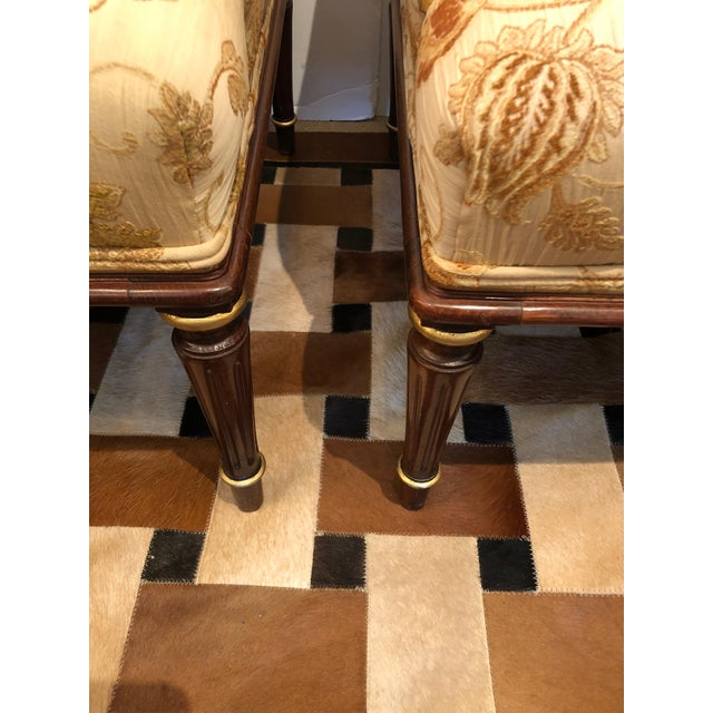 Lovely Pair of Carved Gilded Wood and Upholstered French Bergère For Sale - Image 11 of 13