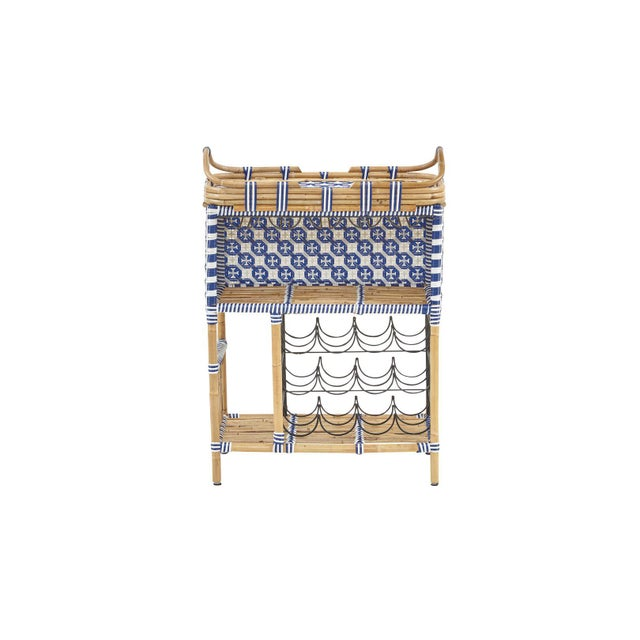Madrid Wine Bar w/Removable Serving Tray, Navy Blue, Rattan For Sale - Image 4 of 4