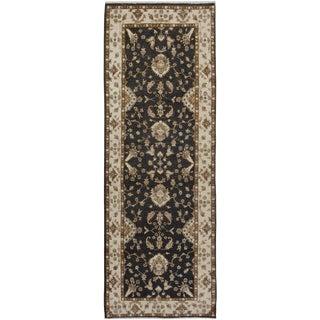 Kafkaz Peshawar Hung Charcoal & Ivory Wool Rug - 3'0 X 8'6 For Sale