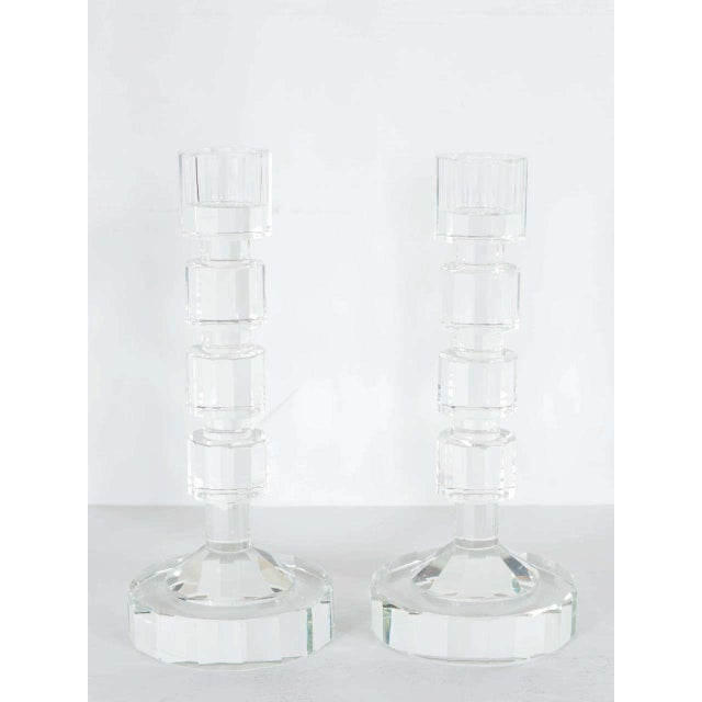 Art Deco Art Deco Style Geometric Cut Crystal Candleholders by Shannon For Sale - Image 3 of 9