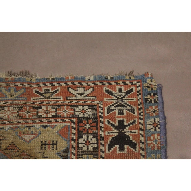 Late 19th Century 'Super Worn' Antique Caucasian Rug For Sale In Chicago - Image 6 of 9