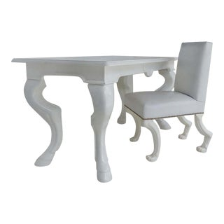 "Eric Brand White Lacquered Desk & Chair ""Stallion"" Model-Set of 2 For Sale"
