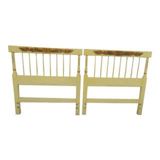 Hitchcock Cream Stencil Decorated Twin Headboards - a Pair For Sale