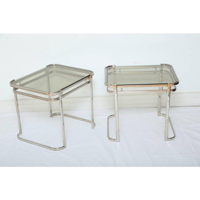 Italian Pair of Italian Mid-Century Modern Chrome Side Tables For Sale - Image 3 of 12
