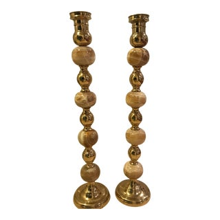 Onyx and Brass Candlestick Holders - A Pair