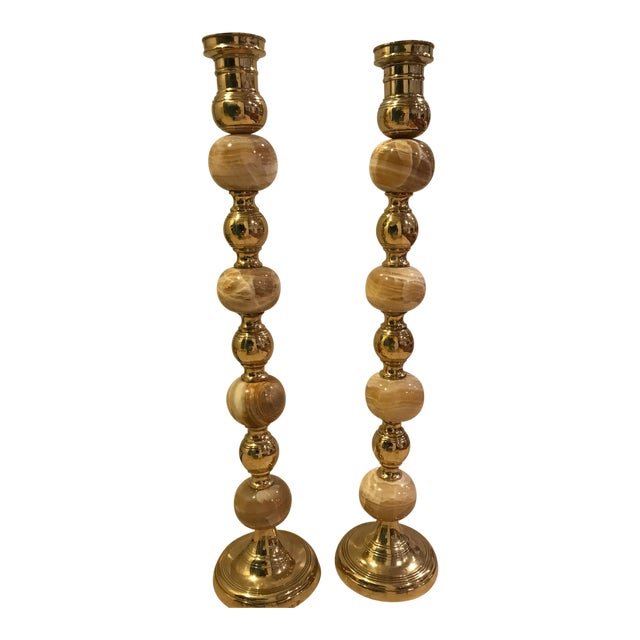 Onyx and Brass Candlestick Holders - A Pair For Sale