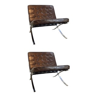 Regina Andrew Mid-Century Modern Inspired Barcelona Tufted Brown Vintage Leather Soho Chairs Pair in the Style of Knoll For Sale