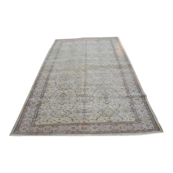 Vintage Handwoven Turkish Beige Oushak Carpet - 5′9″ × 9′2″ For Sale
