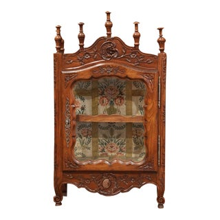 19th Century French Louis XV Carved Walnut Hanging Vitrine From Provence For Sale