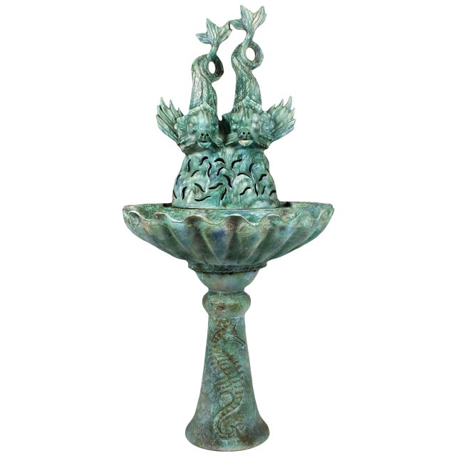 1940s Enameled Ceramic Wall Fountain, Les Fontaines de Provence, France For Sale