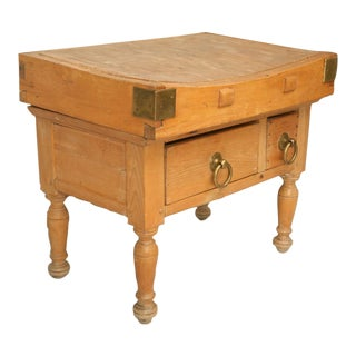 Dynamite Original American Maple Butcher Block with Drawers, circa 1920 For Sale