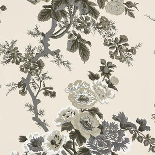 Schumacher Pyne Hollyhock Wallpaper in Charcoal For Sale