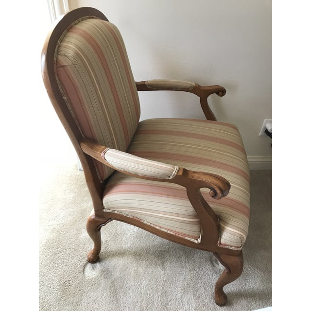 Contemporary Heckmann Furniture Carved Wood Upholstered Arm Chair For Sale - Image 3 of 6