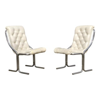 Vintage Mid-Century Daystorm Tufted Vinyl & Chrome Chairs - A Pair For Sale