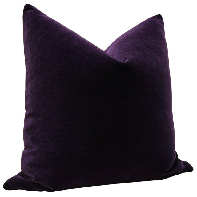 """Contemporary 22"""" Aubergine Velvet Pillows - a Pair For Sale - Image 3 of 5"""