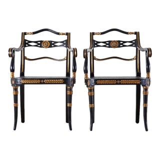 Pair of Regency Style Lacquered Armchairs by Theodore Alexander For Sale