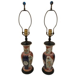 Pair of 19th Century Imari Vase Shaped Table Lamps For Sale