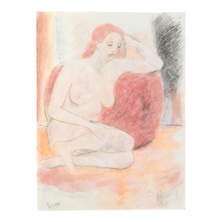 1990s Figurative Pastel Drawing, Posing Female Nude by James Frederic Bone For Sale