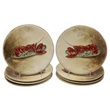 Image of Hand-Painted Limoges Lobster Plates - Set of 8 For Sale