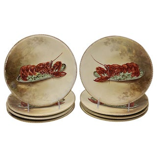 Hand-Painted Limoges Lobster Plates - Set of 8 For Sale