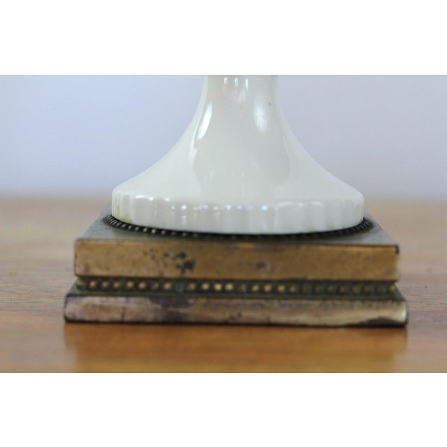 Ceramic Vintage French Pink Table Lamp With White Swan Handles Circa 1940's For Sale - Image 7 of 7